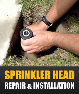 one of our Fairfield irrigation contractors changes a sprinkler head
